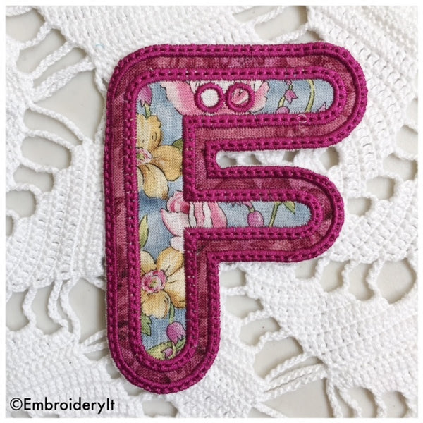 Double Applique banner letter F for embroidery machines