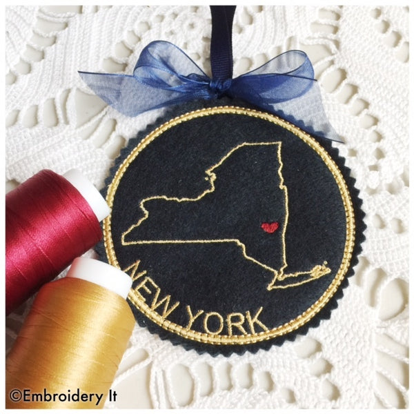 Machine Embroidery New York Christmas Ornament