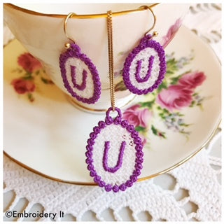 FSL alphabet jewelry machine embroidery set