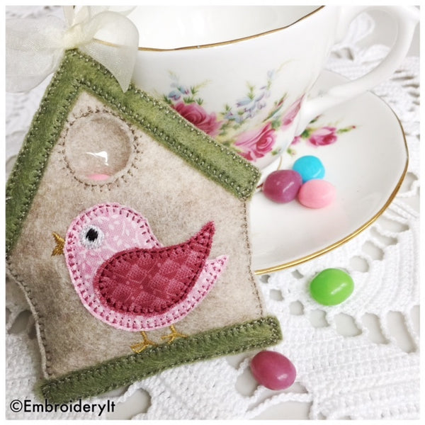 bird house candy holder machine embroidery design