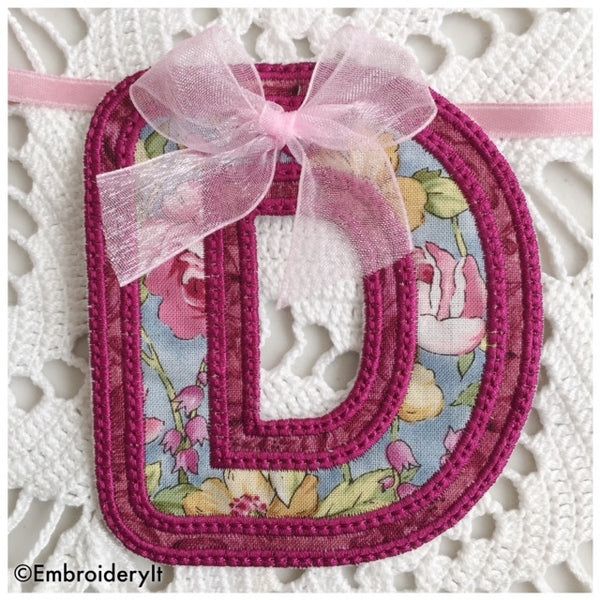 Letter D machine embroidery banner design