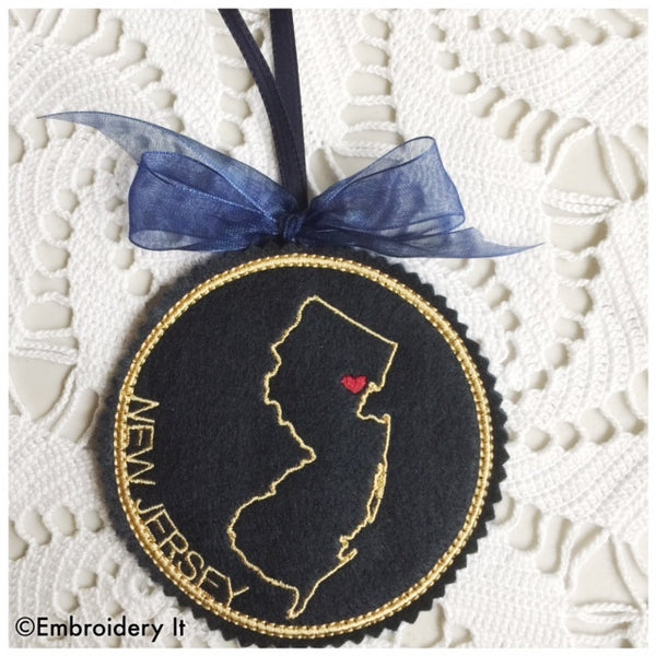 Machine embroidery New Jersey coaster
