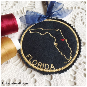 Machine embroidery Florida ornament