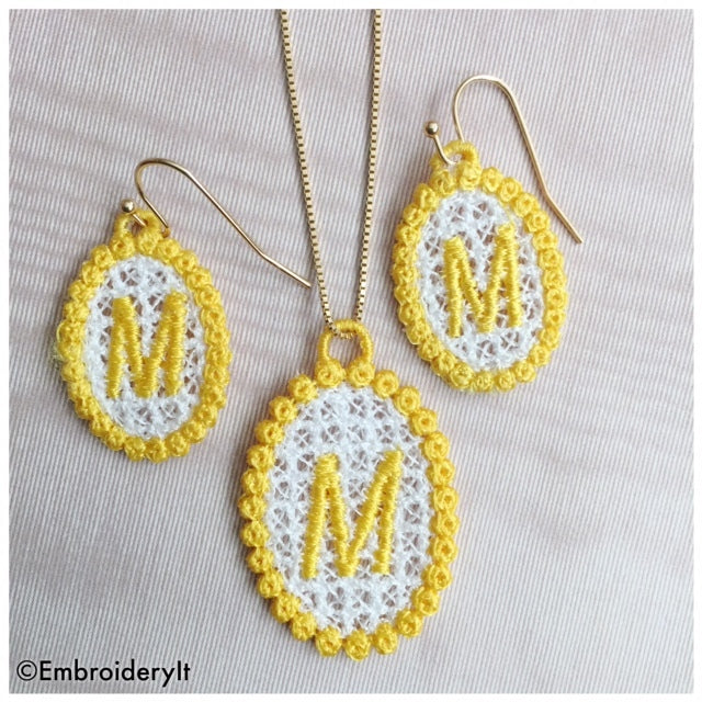 Machine Embroidery Free Standing Lace Necklace and Earrings