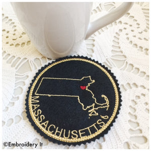 I heart Massachusetts embroidery design