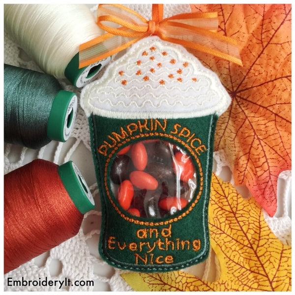 pumpkin spice latte in the hoop machine embroidery design