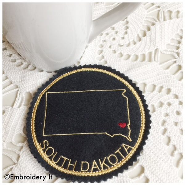 Machine embroidery in the hoop South Dakota Coaster Pattern