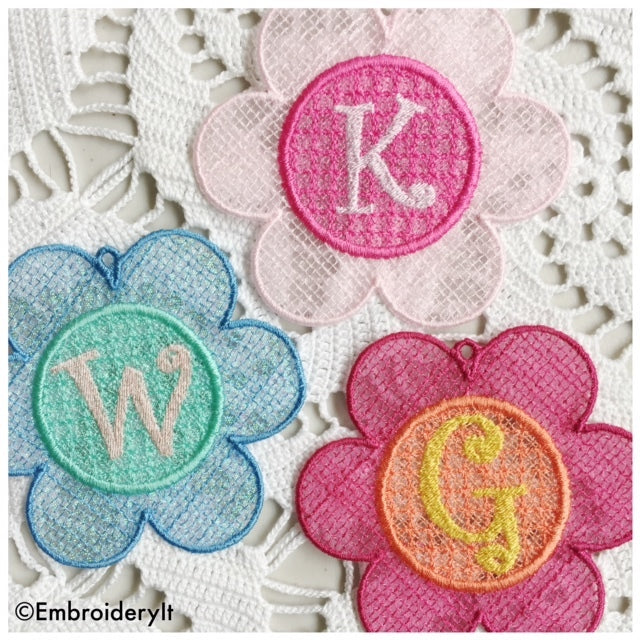 Machine embroidery free standing lace flower alphabet set