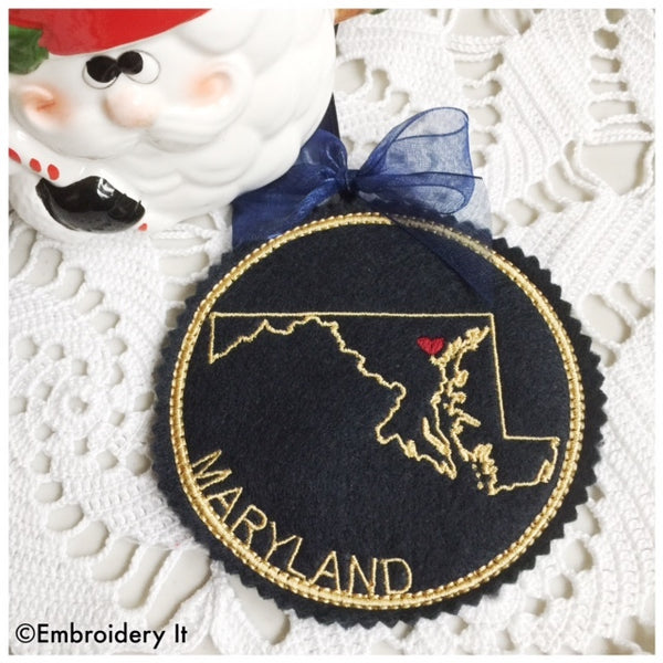 Machine embroidery Maryland ornament