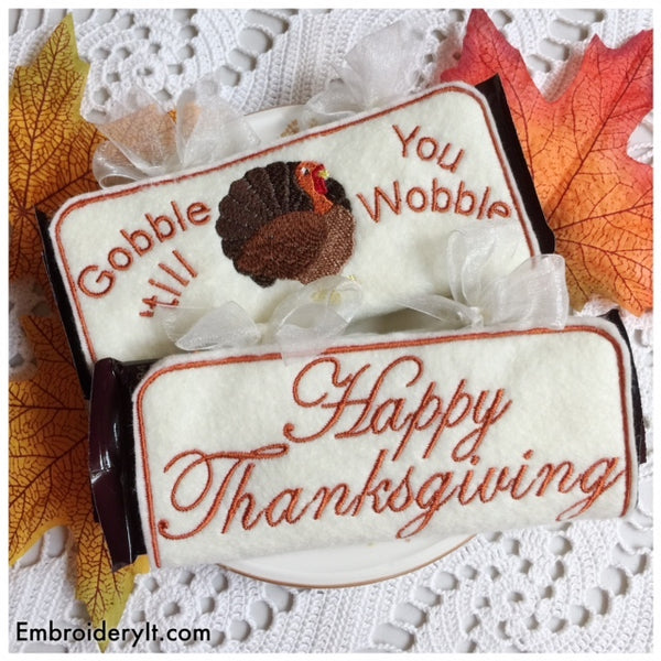Thanksgiving candy bar wrappers machine embroidery in the hoop designs