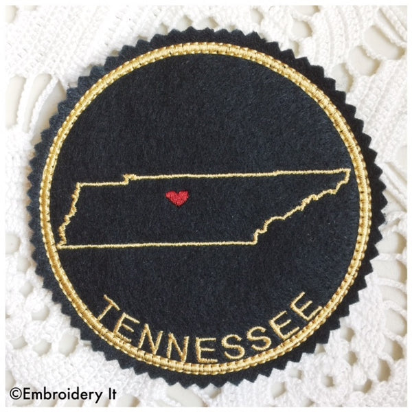 Machine embroidery Tennessee in the hoop coaster pattern