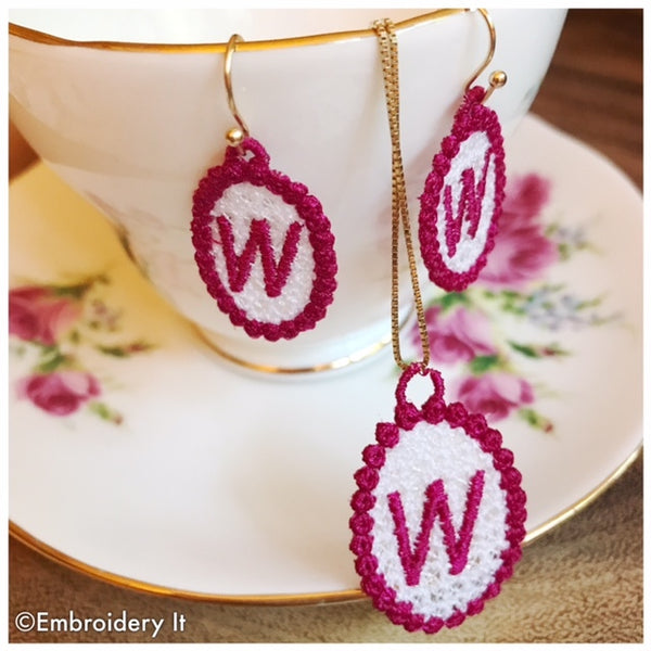 machine embroidery free standing alphabet lace jewelry