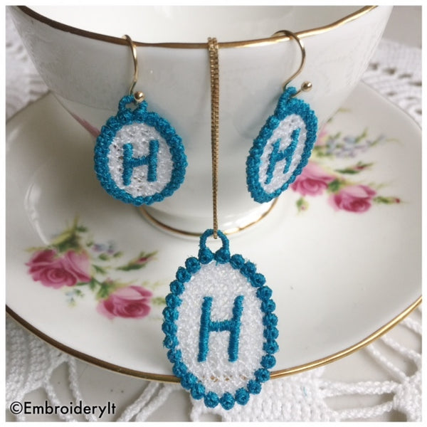 Free Standing lace necklace and earrings made by machine embroidery