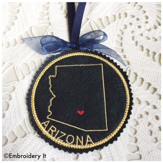 Machine Embroidery Arizona Coaster