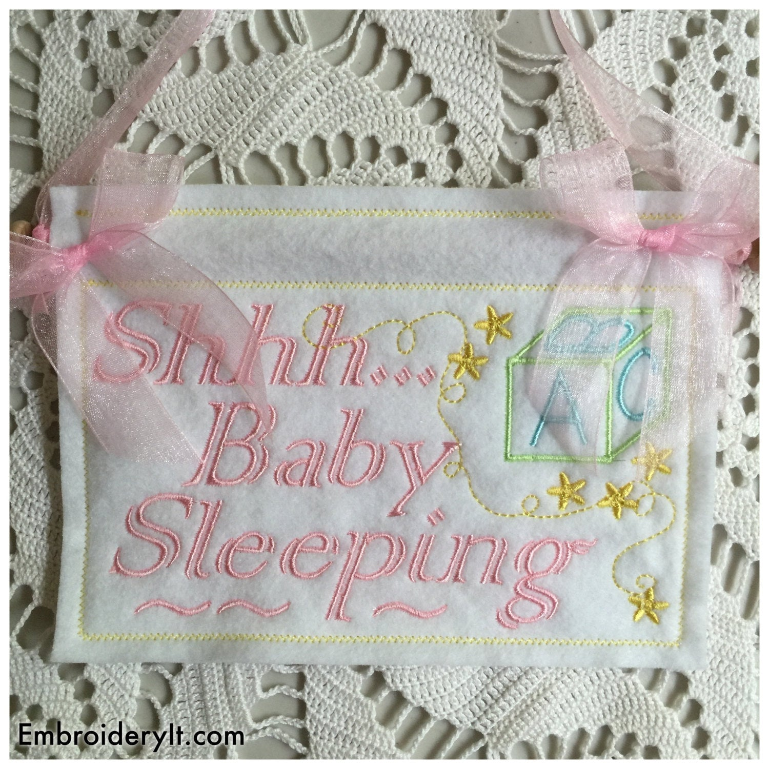 Machine Embroidery Baby sleeping sign