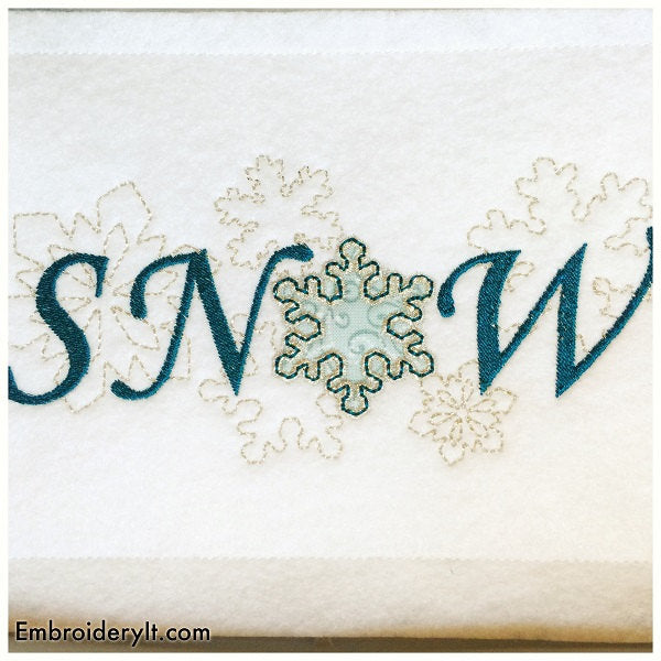 let it snow machine embroidery in the hoop sign