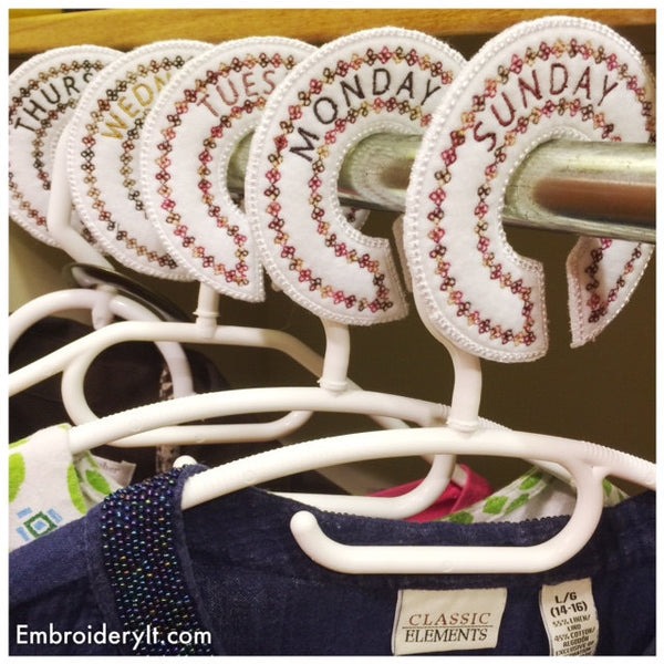 Days of the week closet dividers embroidery machine designs