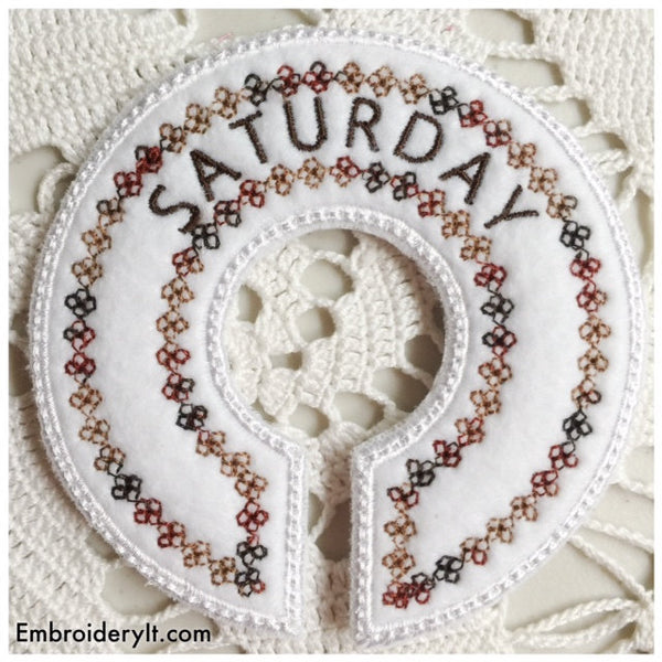 machine embroidery days of the week in the hoop designs