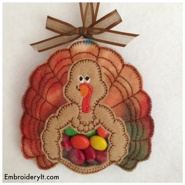Felt turkey candy holder machine embroidery design