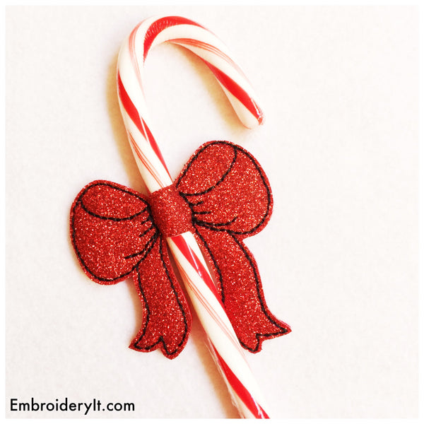 Candy Cane bow in the hoop embroidery design