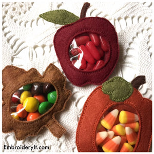 Candy holder machine embroidery fall set