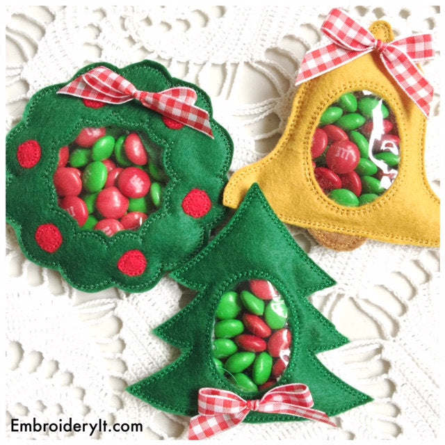 Machine embroidery in the hoop Christmas candy holder set
