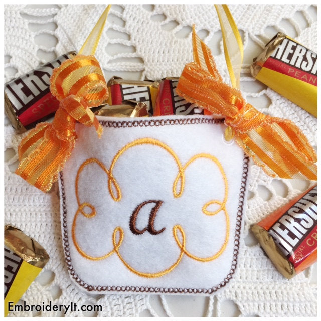 machine embroidery monogram basket letter a in the hoop design