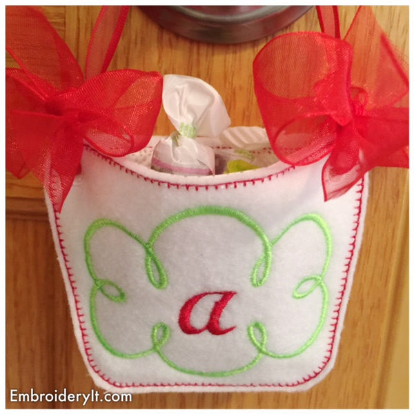 monogram basket machine embroidery letter a design