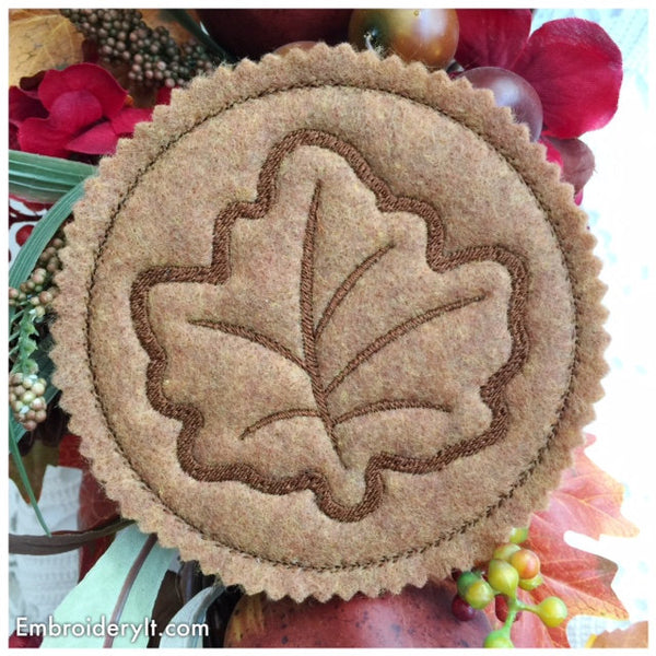 in the hoop maple leaf machine embroidery coaster