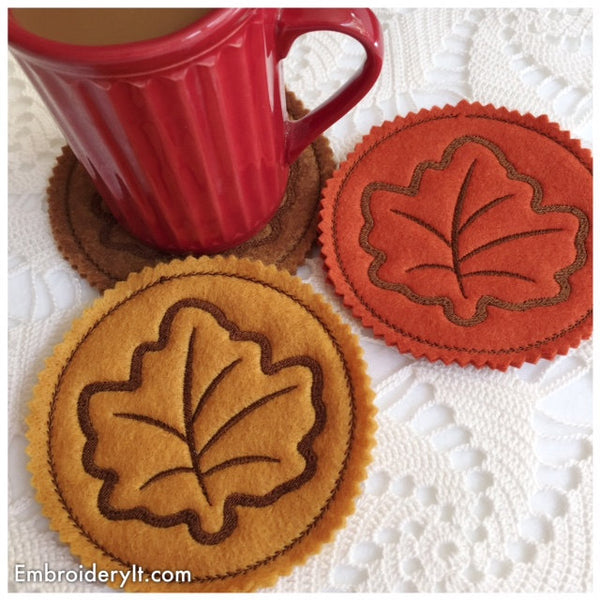 Machine embroidery fall maple leaf coaster