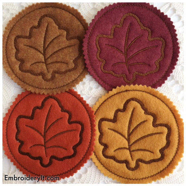 maple leaf coaster machine embroidery design