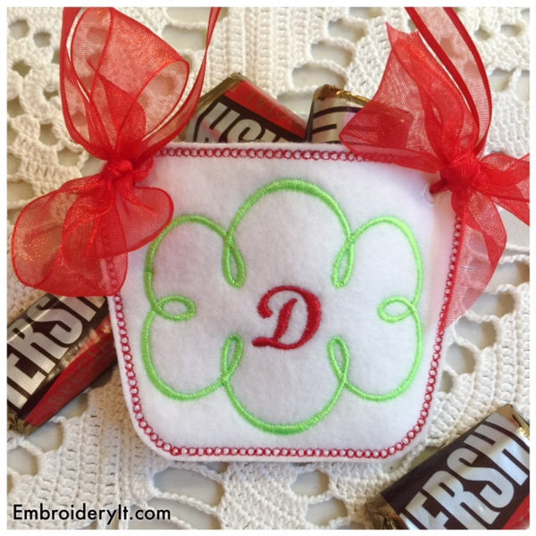 In the hoop machine embroidery candy holder basket