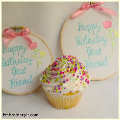 Happy birthday friend machine embroidery design