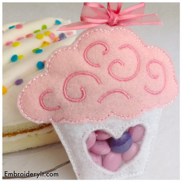 machine embroidery cupcake candy holder