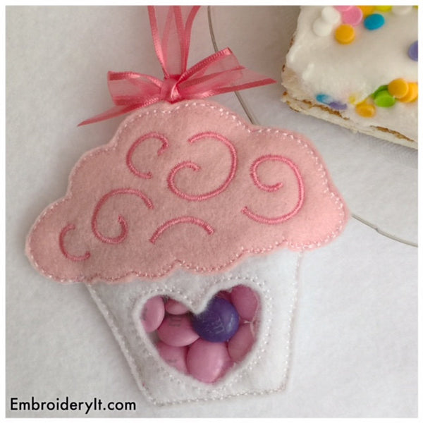 felt cupcake candy holder machine embroidery file