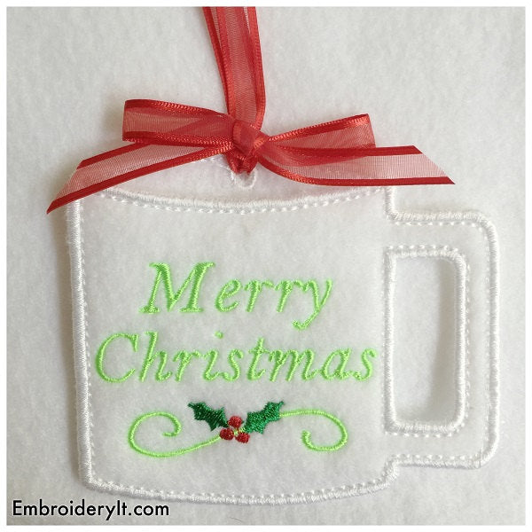 Christmas gift card in the hoop machine embroidery designs