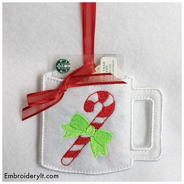machine embroidery Christmas gift card holders