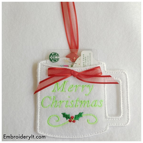 machine embroidery in the hoop Christmas gift card holders