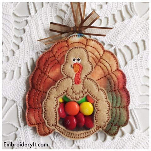 Turkey candy holder in the hoop machine embroidery design