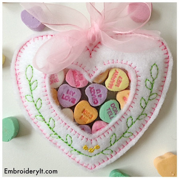 Heart in the hoop candy holder machine embroidery designs