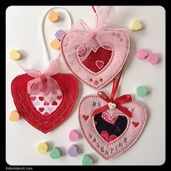 in the hoop heart candy holder machine embroidery set