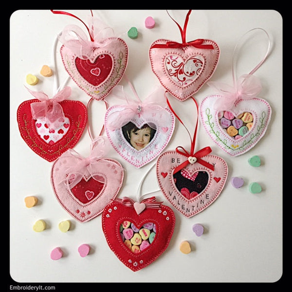 heart in the hoop machine embroidery candy holder design