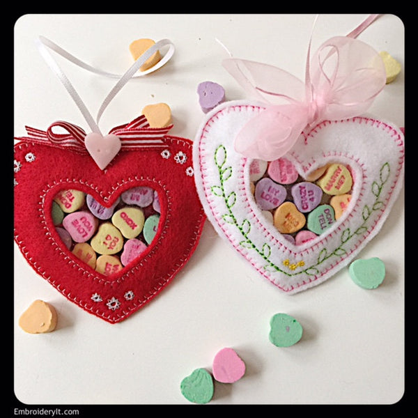 in the hoop heart candy holder embroidery designs