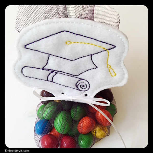 Graduation Cap Candy tag machine embroidery design
