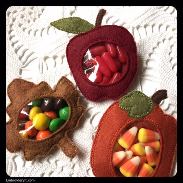 Apple candy holder machine embroidery in the hoop design