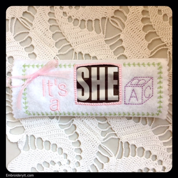 its a she hersheys machine embroidery candy wrapper