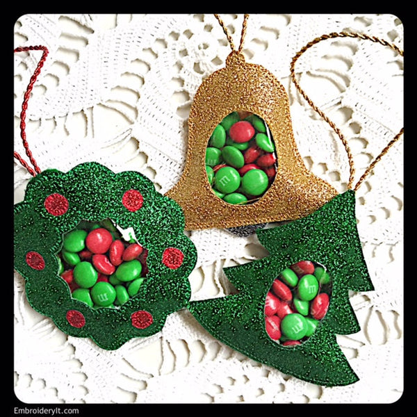 machine embroidery designs in the hoop Christmas candy holders