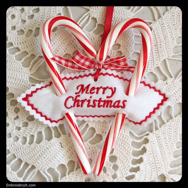 merry Christmas Sweetheart candy cane holder machine embroidery design
