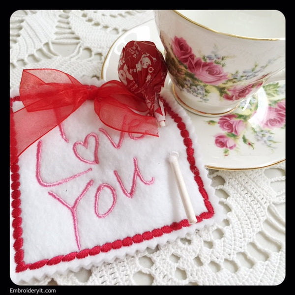 I love you valentine's day lollipop holder machine embroidery pattern