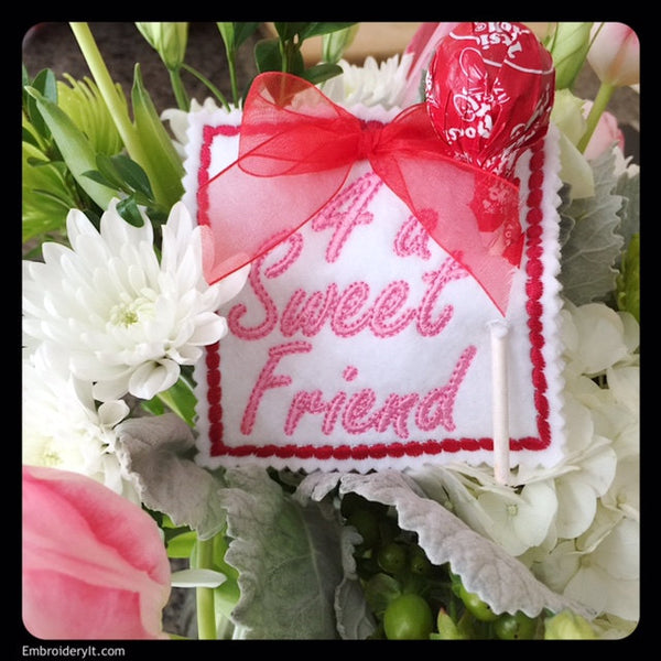 valentine for friend machine embroidery candy holder design